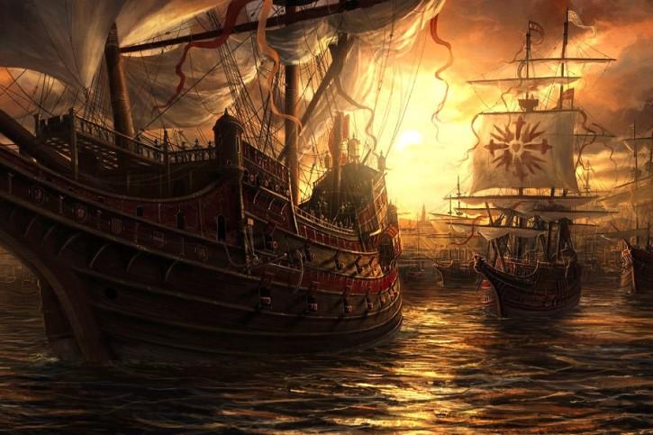 DIY-FRAME-Fantasy-Art-Original-artwork-sailboat-sailing-sun-rises-cloth-silk-art-wall-poster-and